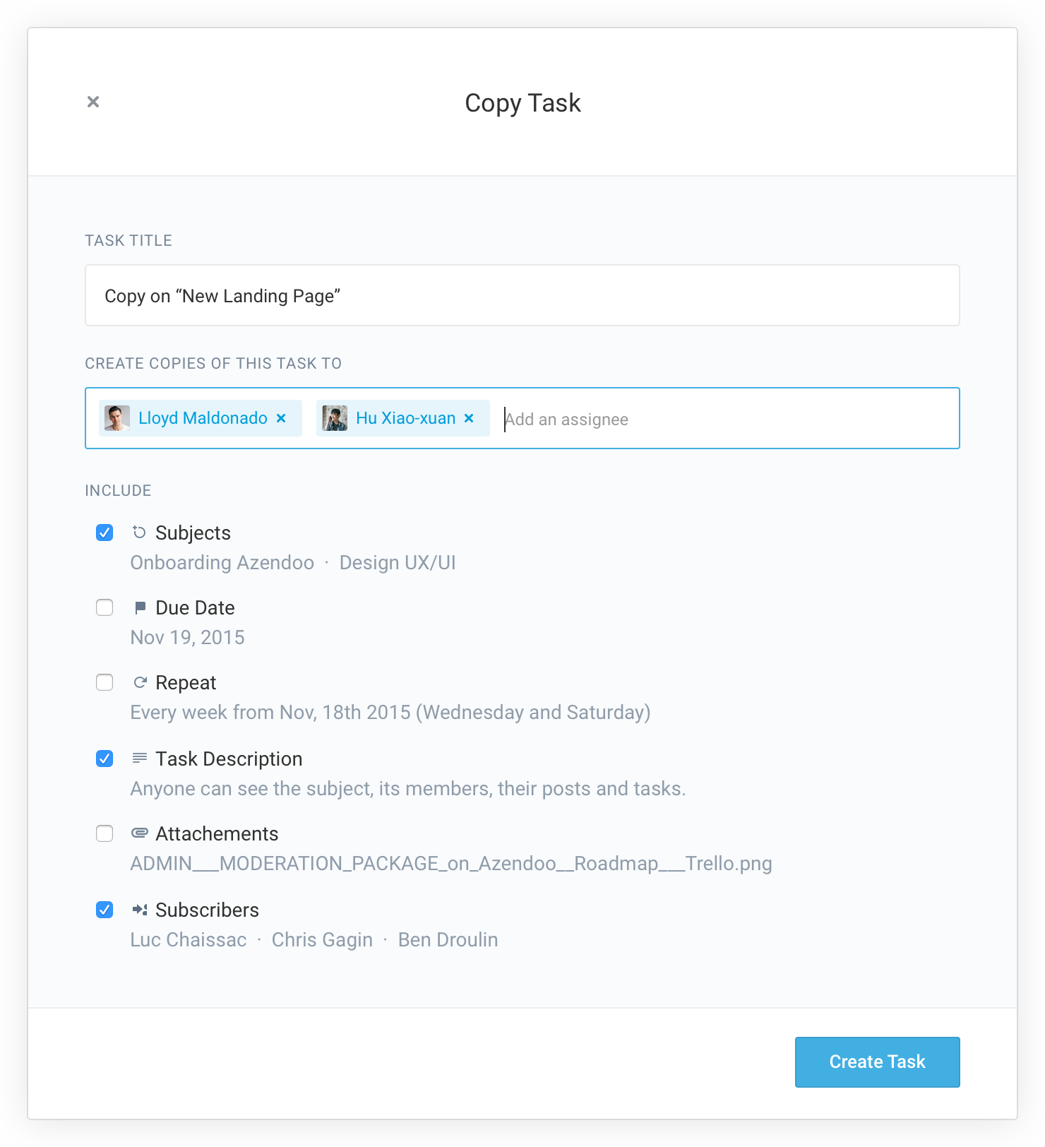 Create copies of a task to multiple people