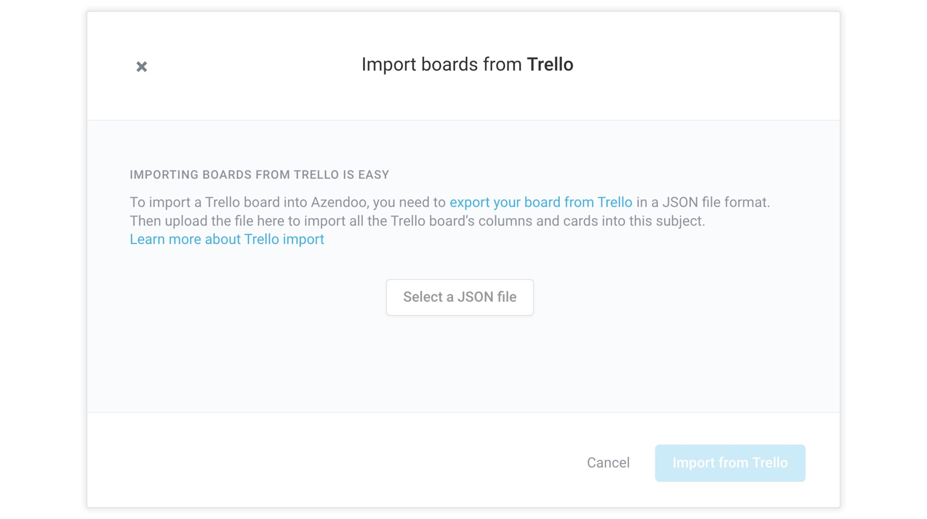 Import your Trello Boards in Azendoo to get started