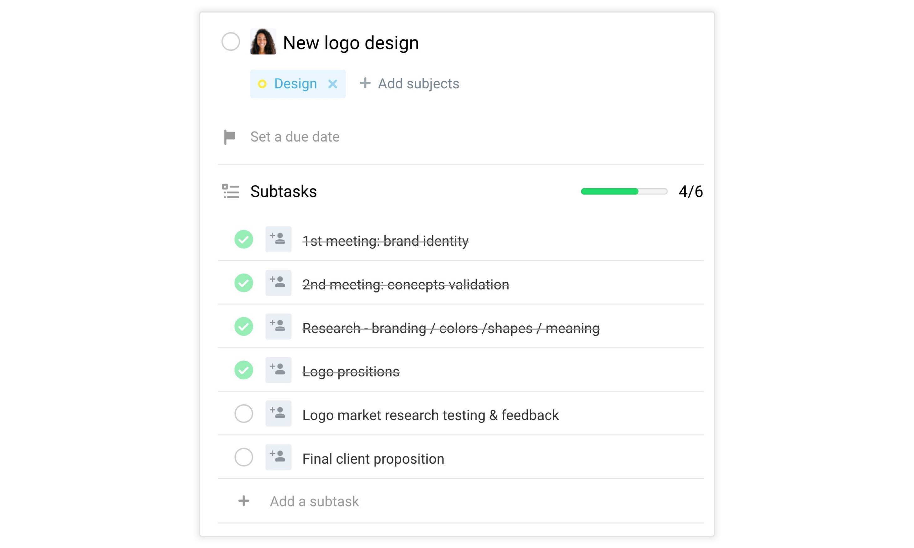 Subtasks used as a checklist