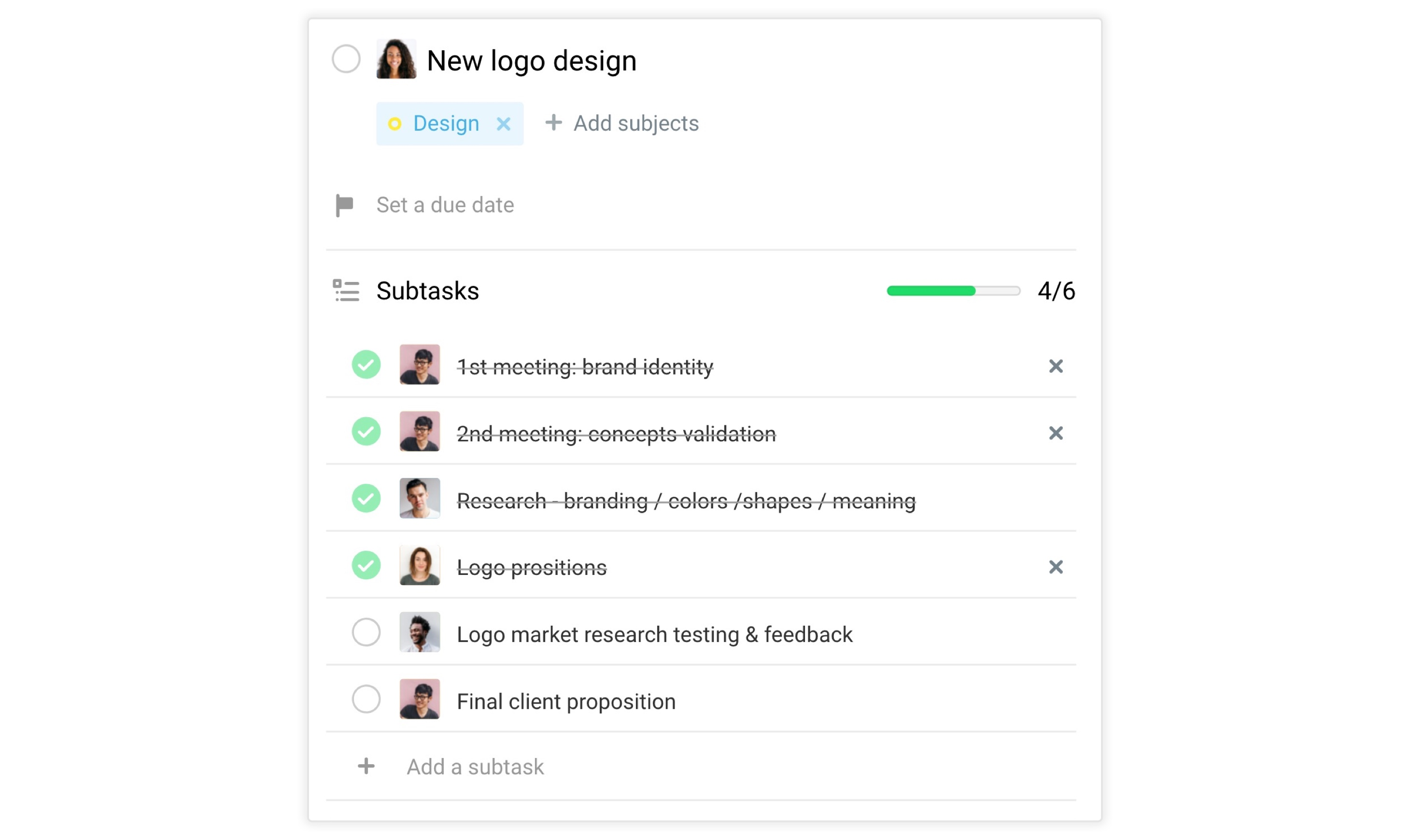 Subtasks assigned to team members