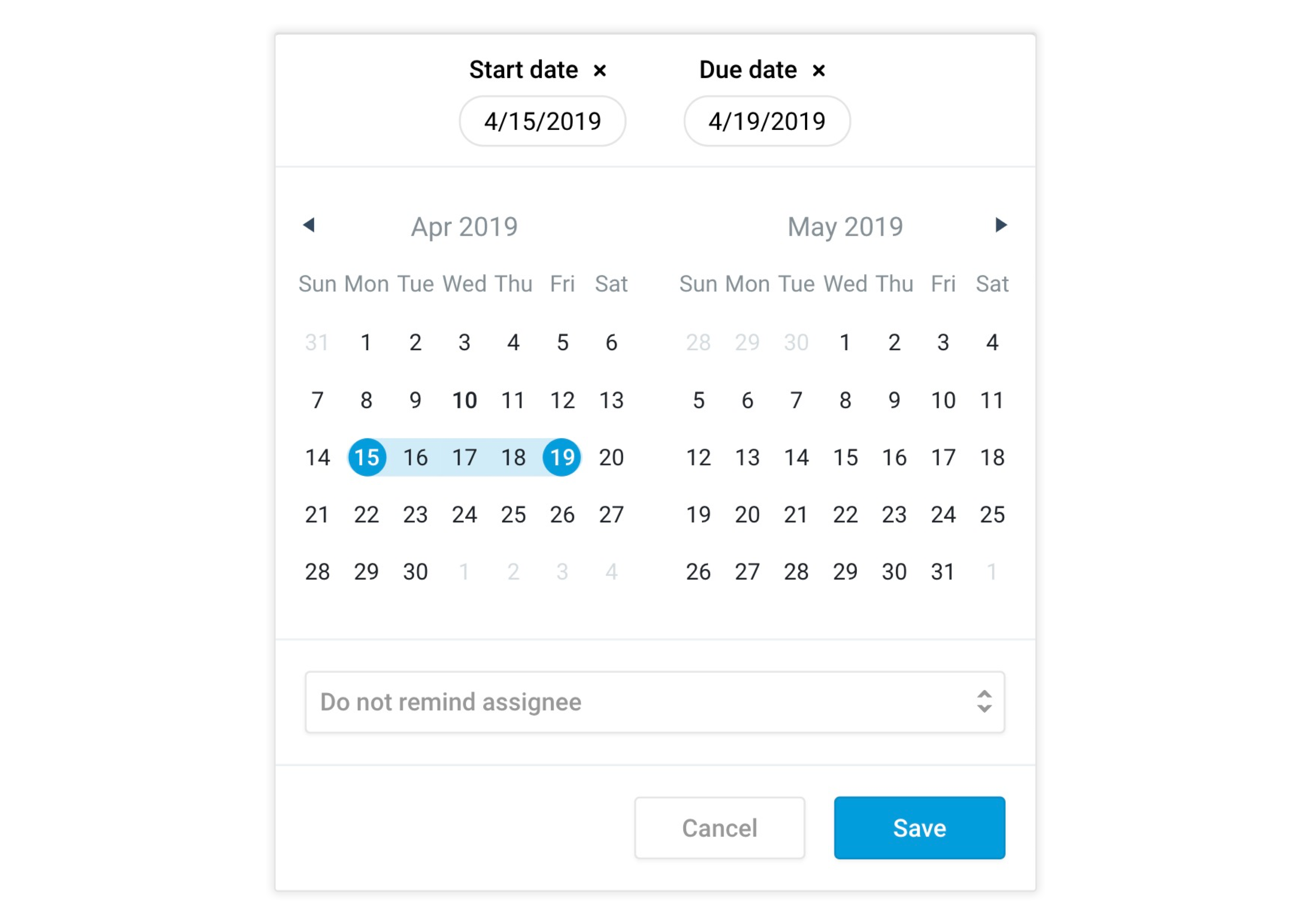 The new date calendar window